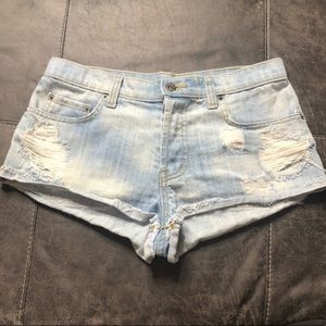 LF Carmar Raw Hem Distressed Denim Shorts